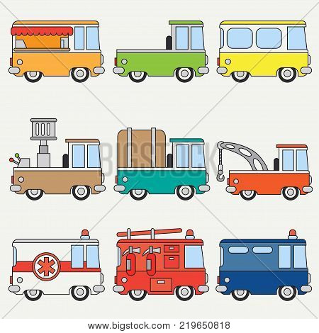 Line flat color vector icon set cute retro city auto . Emergency assistance vehicle. Cartoon style. Urban truck. Police van. Firefighter. Vector illustration and element for your design, wallpaper.