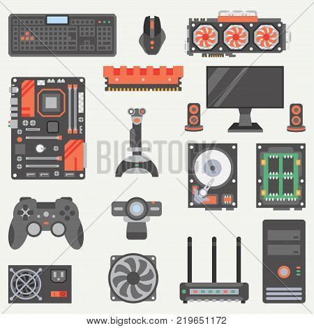 Flat color vector computer part icon set. Cartoon style. Digital gaming and business office pc desktop device. Innovation electronic gadget. Internet. Illustration, element for your design, wallpaper