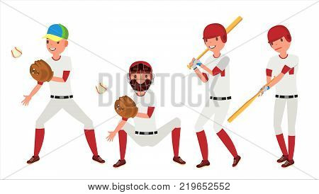 Baseball Player Vector. Sport Action On The Stadium. Powerful Hitter. Isolated Flat Cartoon Character Illustration