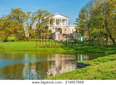 Russia, Saint-Petersburg. May 9, 2016. The Cameron Gallery is architectural monument in Catherine Park of Pushkin near St. Petersburg. The building was built in 1784-1787 years under leadership of Charles Cameron.