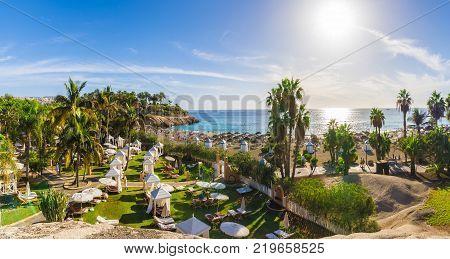 View of El Duque beach at Costa Adeje. Tenerife Canary Islands Spain
