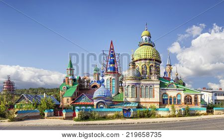 KAZAN, RUSSIA - August 20, 2016: Temple of All Religions (or Temple 7 religions or the Temple of Universe). Located in the village of Old Arakchino. Start of construction - 1994. Author - Ildar Khans. (2)