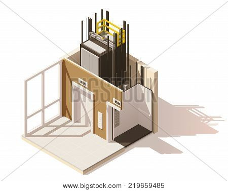 Vector isometric low poly elevator cutaway icon. Includes building hallway interior and elevator cross-section