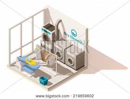 Vector isometric low poly commercial laundry cutaway icon. Includes dry cleaners washing machines, dryer, ironing board