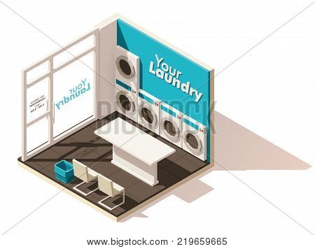 Vector isometric low poly laundromat cutaway icon. Includes washing machines, table, laundry baskets and chairs