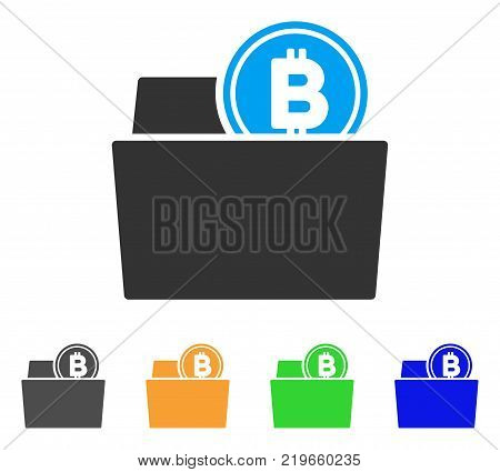 Bitcoin Folder icon. Vector illustration style is a flat iconic bitcoin folder symbol with gray, green, blue, yellow color versions. Designed for web and software interfaces.