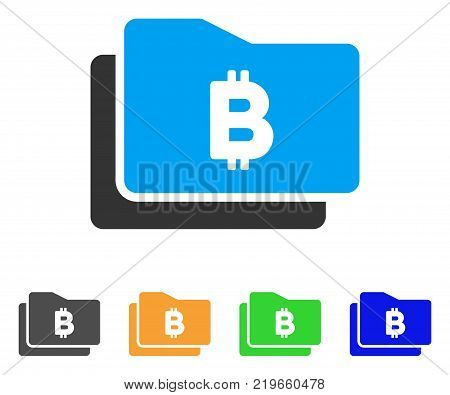 Bitcoin Purse icon. Vector illustration style is a flat iconic bitcoin purse symbol with grey, green, blue, yellow color versions. Designed for web and software interfaces.