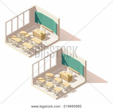 Vector isometric low poly school classroom cutaway icon. Includes school desks, chairs and blackboard