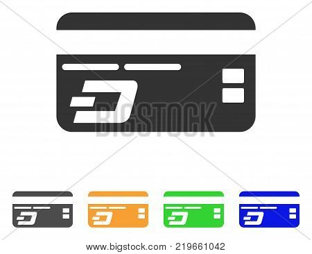 Dash Bank Card icon. Vector illustration style is a flat iconic dash bank card symbol with grey, green, blue, yellow color versions. Designed for web and software interfaces.