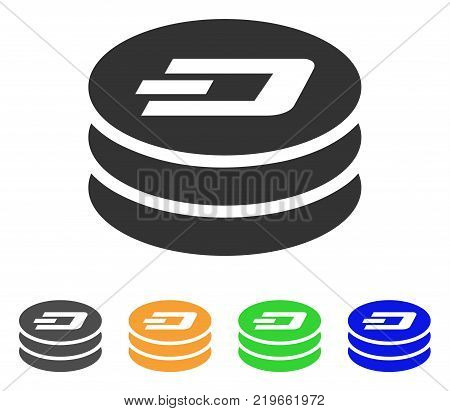 Dash Coin Column icon. Vector illustration style is a flat iconic dash coin column symbol with gray, green, blue, yellow color variants. Designed for web and software interfaces.