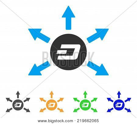 Dash Coin Payout Arrows icon. Vector illustration style is a flat iconic dash coin payout arrows symbol with gray, green, blue, yellow color variants. Designed for web and software interfaces.