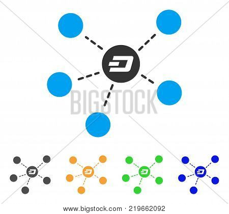 Dash Coin Relations icon. Vector illustration style is a flat iconic dash coin relations symbol with gray, green, blue, yellow color versions. Designed for web and software interfaces.