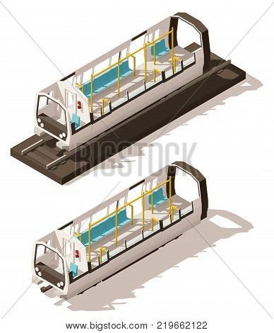 Vector isometric low poly subway train cross-section. Includes cutaway train car showing seats and other interior details