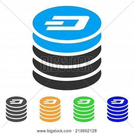 Dash Coin Stack icon. Vector illustration style is a flat iconic dash coin stack symbol with gray, green, blue, yellow color versions. Designed for web and software interfaces.