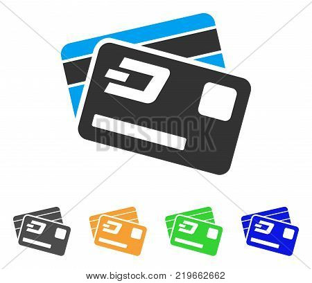 Dash Credit Cards icon. Vector illustration style is a flat iconic dash credit cards symbol with gray, green, blue, yellow color variants. Designed for web and software interfaces.