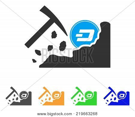Dash Mining Hammer icon. Vector illustration style is a flat iconic dash mining hammer symbol with grey, green, blue, yellow color variants. Designed for web and software interfaces.