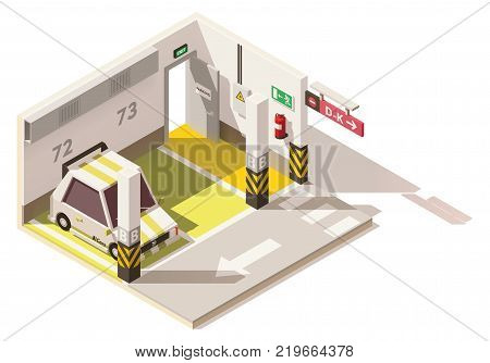 Vector isometric low poly underground parking. Includes parking places, car, exit door and fire extinguisher on the wall
