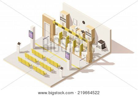 Vector isometric low poly visa application center. Includes queuing system ticket terminals, seats for customers, queue displays, barriers and offices