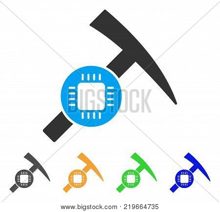 Electronic Mining Hammer icon. Vector illustration style is a flat iconic electronic mining hammer symbol with grey, green, blue, yellow color variants. Designed for web and software interfaces.