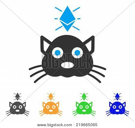 Ethereum Crypto Kitty icon. Vector illustration style is a flat iconic ethereum crypto kitty symbol with grey, green, blue, yellow color variants. Designed for web and software interfaces.