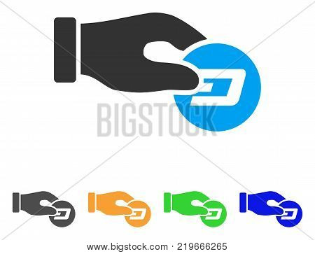 Hand Pay Dash icon. Vector illustration style is a flat iconic hand pay dash symbol with gray, green, blue, yellow color versions. Designed for web and software interfaces.