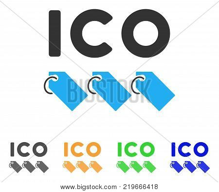 Ico Tokens icon. Vector illustration style is a flat iconic ico tokens symbol with grey, green, blue, yellow color variants. Designed for web and software interfaces.