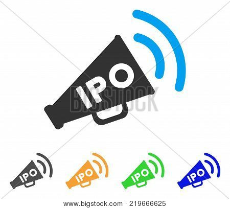 Ipo News Megaphone icon. Vector illustration style is a flat iconic ipo news megaphone symbol with grey, green, blue, yellow color variants. Designed for web and software interfaces.