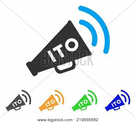 Ito Alert Megaphone icon. Vector illustration style is a flat iconic ito alert megaphone symbol with grey, green, blue, yellow color variants. Designed for web and software interfaces.