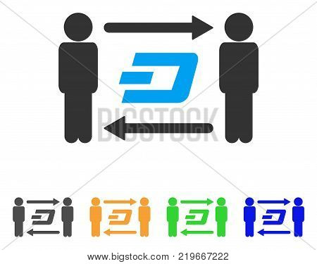 People Exchange Dash icon. Vector illustration style is a flat iconic people exchange dash symbol with grey, green, blue, yellow color variants. Designed for web and software interfaces.