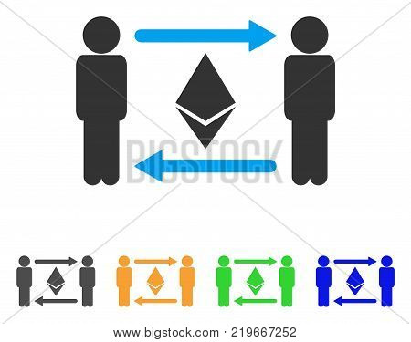 People Exchange Ethereum Crystal icon. Vector illustration style is a flat iconic people exchange ethereum crystal symbol with grey, green, blue, yellow color variants.