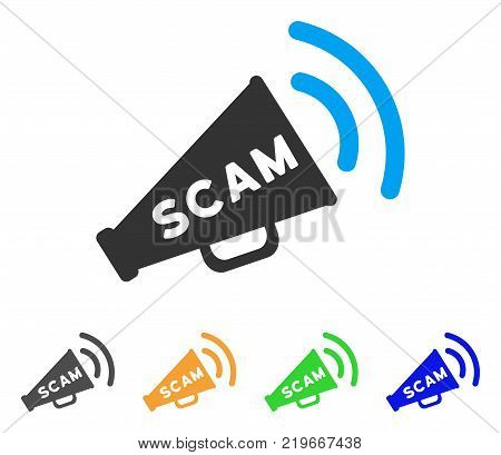 Scam Alert Megaphone icon. Vector illustration style is a flat iconic scam alert megaphone symbol with grey, green, blue, yellow color variants. Designed for web and software interfaces.