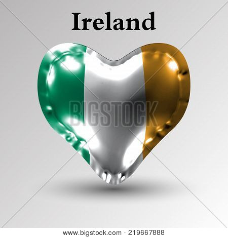 eps10. Flags of the countries of Europe. The flag of Ireland on an air ball in the form of a heart made of glossy material.