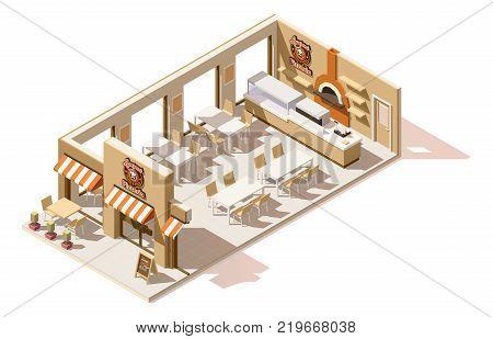 Vector isometric low poly pizzeria restaurant interior