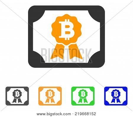 Bitcoin Diploma icon. Vector illustration style is a flat iconic bitcoin diploma symbol with grey, green, blue, yellow color variants. Designed for web and software interfaces.