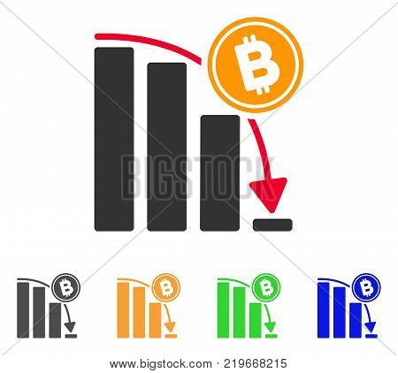 Bitcoin Epic Fail Chart icon. Vector illustration style is a flat iconic bitcoin epic fail chart symbol with gray, green, blue, yellow color versions. Designed for web and software interfaces.