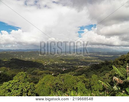 Caribbean mountains top view Orocovis Puerto Rico