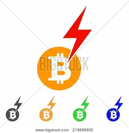 Bitcoin Lightning Strike icon. Vector illustration style is a flat iconic bitcoin lightning strike symbol with gray, green, blue, yellow color versions. Designed for web and software interfaces.