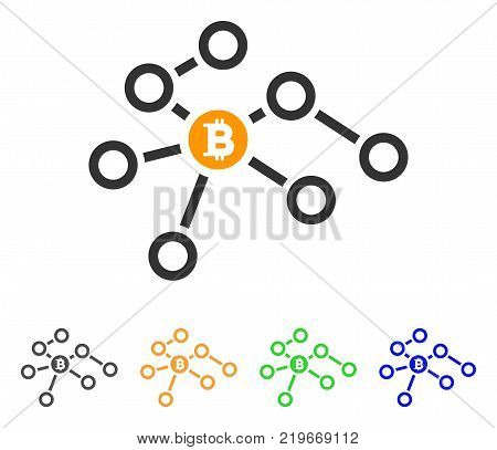 Bitcoin Network Nodes icon. Vector illustration style is a flat iconic bitcoin network nodes symbol with gray, green, blue, yellow color variants. Designed for web and software interfaces.