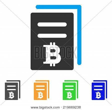 Bitcoin Price Copy icon. Vector illustration style is a flat iconic bitcoin price copy symbol with gray, green, blue, yellow color versions. Designed for web and software interfaces.