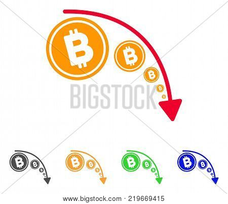 Bitcoin Reduce Trend icon. Vector illustration style is a flat iconic bitcoin reduce trend symbol with gray, green, blue, yellow color variants. Designed for web and software interfaces.