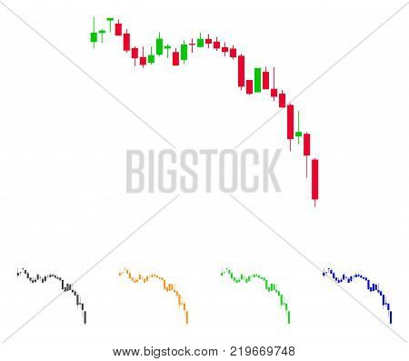 Candlestick Chart Down icon. Vector illustration style is a flat iconic Candlestick chart down symbol with gray, green, blue, yellow color variants. Designed for web and software interfaces.