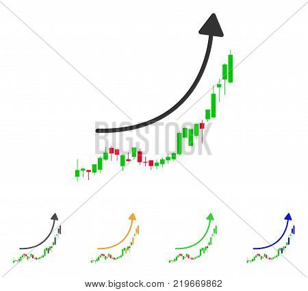 Candlestick Chart Growth Trend icon. Vector illustration style is a flat iconic Candlestick chart growth trend symbol with gray, green, blue, yellow color variants.