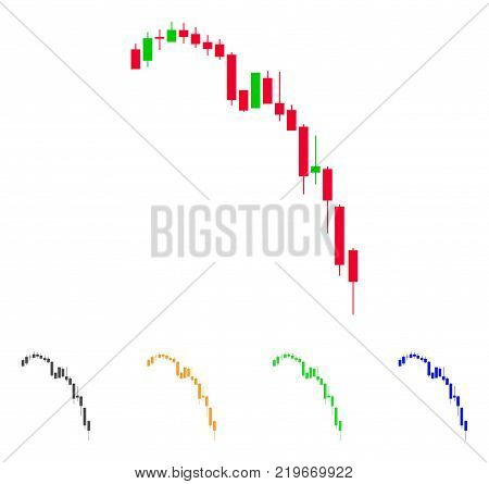 Candlestick Falling Acceleration Chart icon. Vector illustration style is a flat iconic candlestick falling acceleration chart symbol with grey, green, blue, yellow color variants.