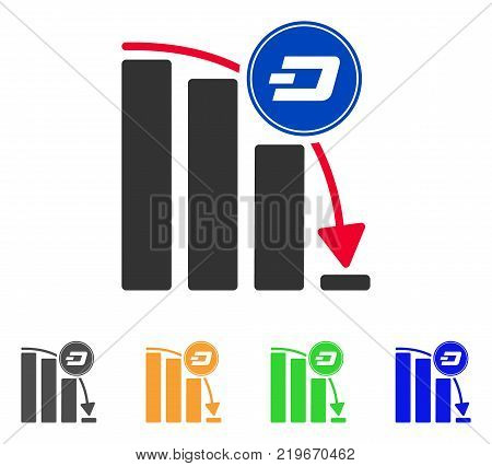 Dashcoin Epic Fail Chart icon. Vector illustration style is a flat iconic dashcoin epic fail chart symbol with grey, green, blue, yellow color versions. Designed for web and software interfaces.