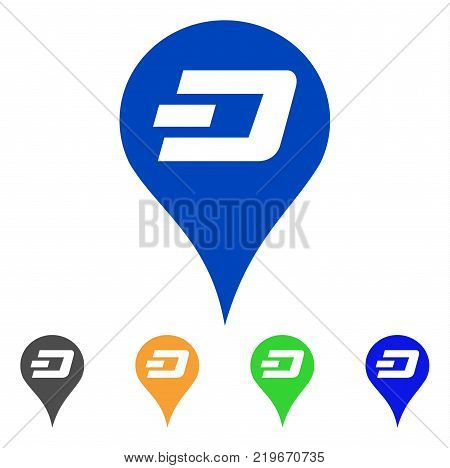 Dashcoin Map Pointer icon. Vector illustration style is a flat iconic dashcoin map pointer symbol with grey, green, blue, yellow color versions. Designed for web and software interfaces.