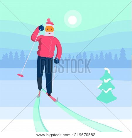 Old man skier character isolated on a snowy winter forest background. Vector illustration ieps 10