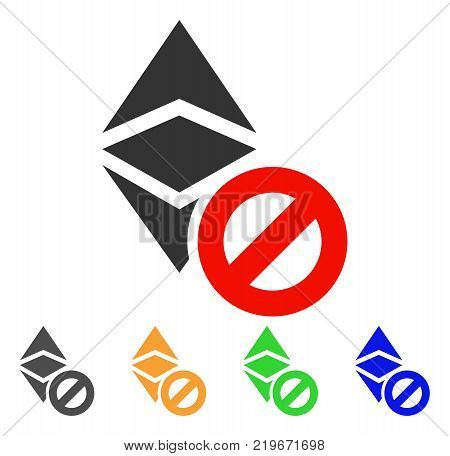 Forbidden Ethereum Classic icon. Vector illustration style is a flat iconic forbidden ethereum classic symbol with gray, green, blue, yellow color versions. Designed for web and software interfaces.