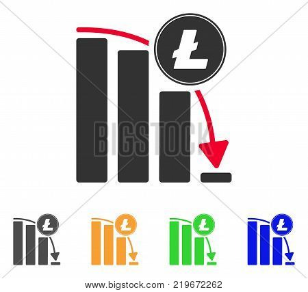Litecoin Falling Acceleration Chart icon. Vector illustration style is a flat iconic litecoin falling acceleration chart symbol with grey, green, blue, yellow color versions.