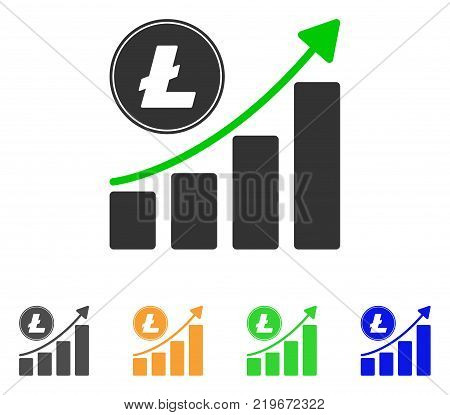 Litecoin Growing Chart Trend icon. Vector illustration style is a flat iconic litecoin growing chart trend symbol with grey, green, blue, yellow color variants.