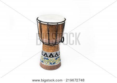 Handmade Djembe drum on the white background